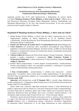 """Regulamin II Miejskiego Konkursu Wiedzy Biblijnej """"A Słowo stało"""