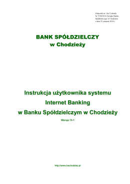 instrukcja obsługi - Bank Spółdzielczy w Chodzieży