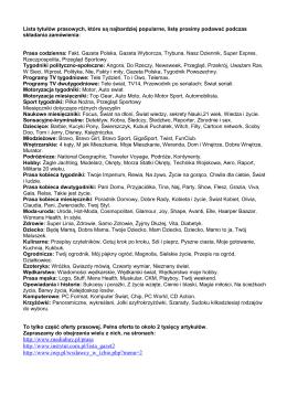 http://www.mediabuy.pl/prasa http://www.instytut.com.pl/lista_gazet2