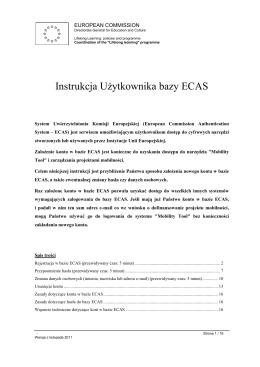 Instrukcja Użytkownika bazy ECAS - Mobility Tool