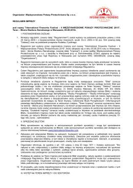 Regulamin II Międzynarodowych Pokazów Pirotechnicznych