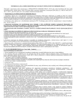 Informacja dla osób rejestrujących się w powiatowym urzędzie pracy