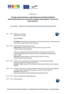 Program - Konferencje FRSE - Fundacja Rozwoju Systemu Edukacji