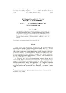 Synteza i właściwości sorpcyjne organo