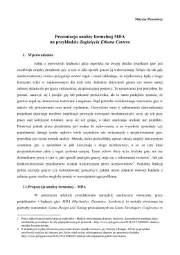 Prezentacja analizy formalnej MDA na przykładzie Zaginięcia