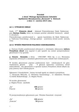 Protokół z obrad Walnego Zgromadzenia za 2013 r
