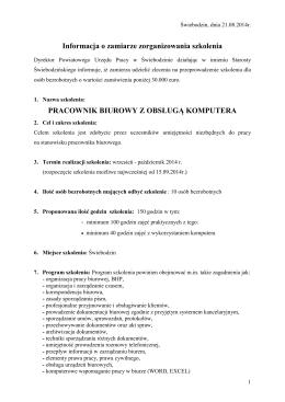 Informacja o zamiarze zorganizowania szkolenia