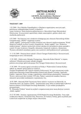 Aktualności: IX 2009 - VIII 2010