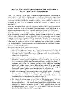 Stanowisko organizacji społecznych i gospodarczych w sprawie