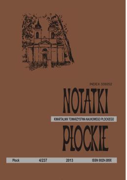Notatki Płockie 2013 nr 4 - Towarzystwo Naukowe Płockie