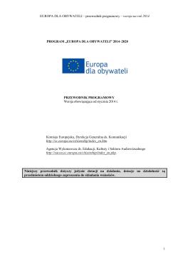EUROPA DLA OBYWATELI – przewodnik programowy