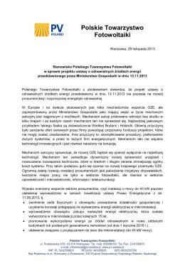 Stanowisko PTPV ws. projektu ustawy o OZE [PDF]