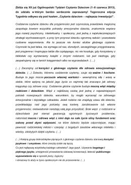 Zbliża się XII już Ogólnopolski Tydzień Czytania Dzieciom