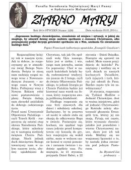 Gazetka 1 z 2014.pdf - Parafia Sędziszów Małopolski kościół w