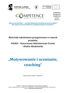 """""""Motywowanie i ocenianie, coaching"""""""