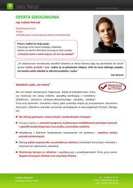 Szkolenia - Izabela Kielczyk