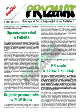 Ograniczenie robót w PeBeKa Krojenie pracowników w ZUW Urbex