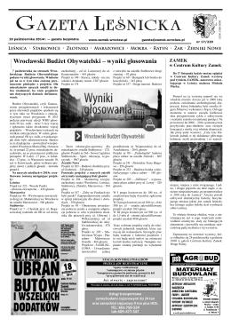 Gazeta Leśnicka, 10 października 2014