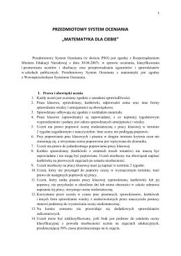 """PRZEDMIOTOWY SYSTEM OCENIANIA """"MATEMATYKA DLA CIEBIE"""""""