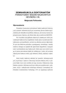 Paradygmat badań naukowych Hevnera i in
