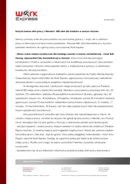 www.workexpress.pl Ruszyła lawina ofert pracy z Niemiec! 800 ofert