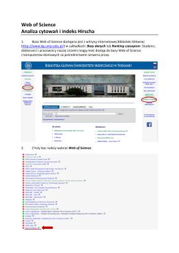INSTRUKCJA Analiza cytowań i indeks Hirscha wg Web of