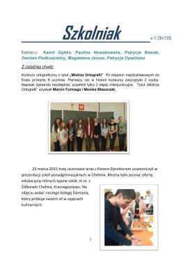 Szkolniak 3 - marzec 2015 - Witamy na stronie Gimnazjum im. Jana