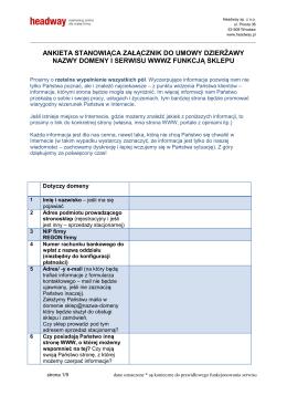 Ankieta - Regulamin świadczenia usług dzierżawy Stronosklepu