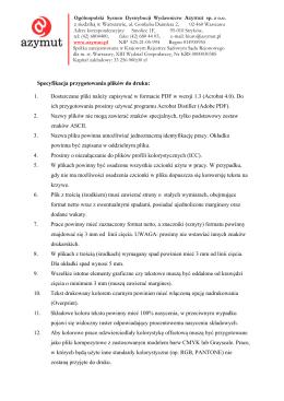 C Specyfikacja przygotowania plików do druku: 1