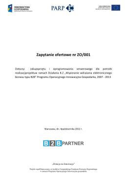 Zapytanie ofertowe nr ZO/001