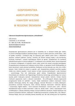 agroturystyka - Unia Gospodarcza Regionu Śremskiego