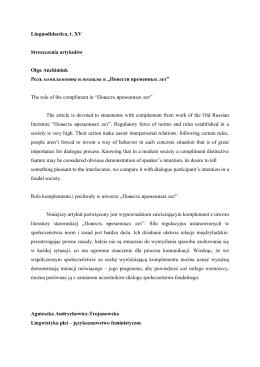 Linguodidactica, t. XV Streszczenia artykułów Olga Anchimiuk Роль