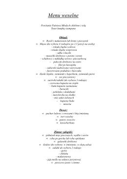 menu weselne 190 nowe
