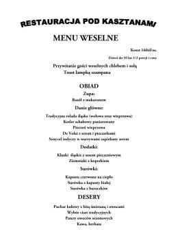 MENU WESELNE - Restauracja Pod Kasztanami