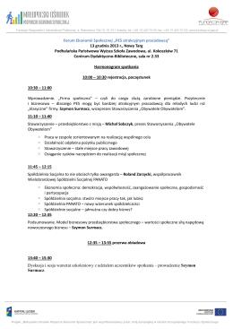 Forum Ekonomii Społecznej Nowy Targ 13.12.2013 r.