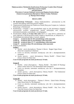 Regulamin - Państwowa Szkoła Muzyczna I stopnia w Myślenicach
