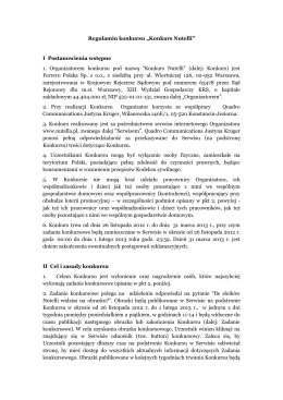 "Regulamin konkursu ""Konkurs Nutelli"" I Postanowienia wstępne 1"