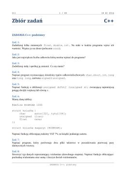 Zbiór zadań C++