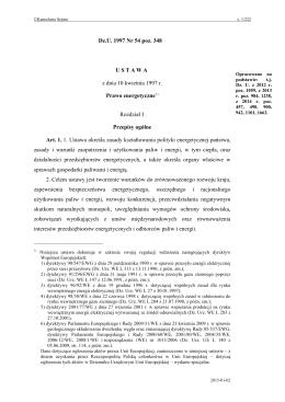 Prawo energetyczne - Internetowy System Aktów Prawnych