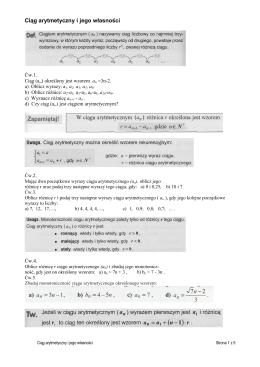 Ciąg arytmetyczny i jego własności