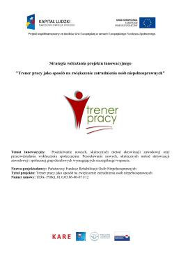 Pobierz tekst Strategia wdrażania projektu innowacyjnego Trener