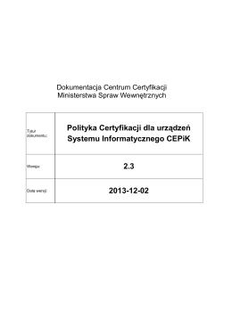 Polityka Certyfikacji dla urządzeń Systemu Informatycznego CEPiK