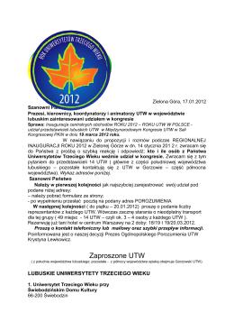 Zaproszone UTW - Nowosolski Uniwersytet Trzeciego Wieku NUTW