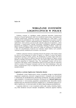 wdrażanie systemów logistycznych w polsce - Logistyka