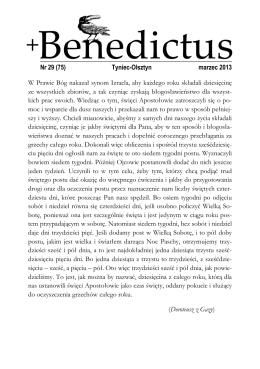 Nr 29 (75) Tyniec-Olsztyn marzec 2013 W Prawie Bóg nakazał
