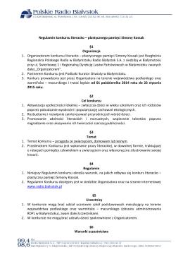 Regulamin konkursu literacko