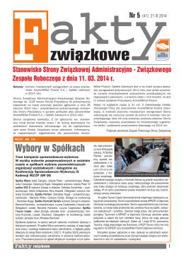 NR 5 (41) 21 III 2014 - Międzyzakładowy Związek Zawodowy