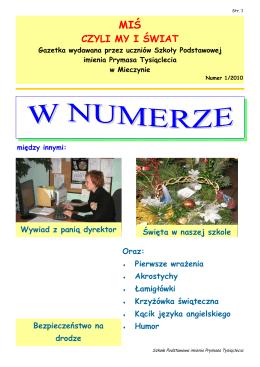 Nr 1/2010 - Szkoła Podstawowa im Prymasa Tysiąclecia w Mieczynie