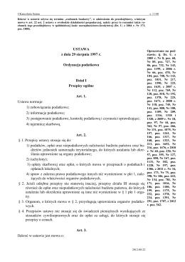 USTAWA z dnia 29 sierpnia 1997 r. Ordynacja podatkowa Dział I