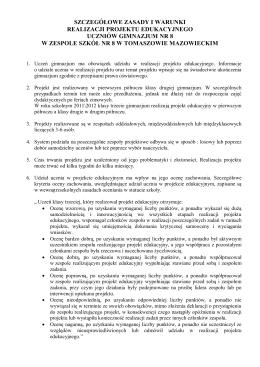 Zasady i warunki realizacji projektu.